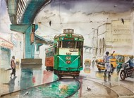 Calcutta City of Joy..Park Circus ..Arsalan Biryani.. by Avanish Trivedi, Impressionism Painting, Watercolor on Paper, Beige color