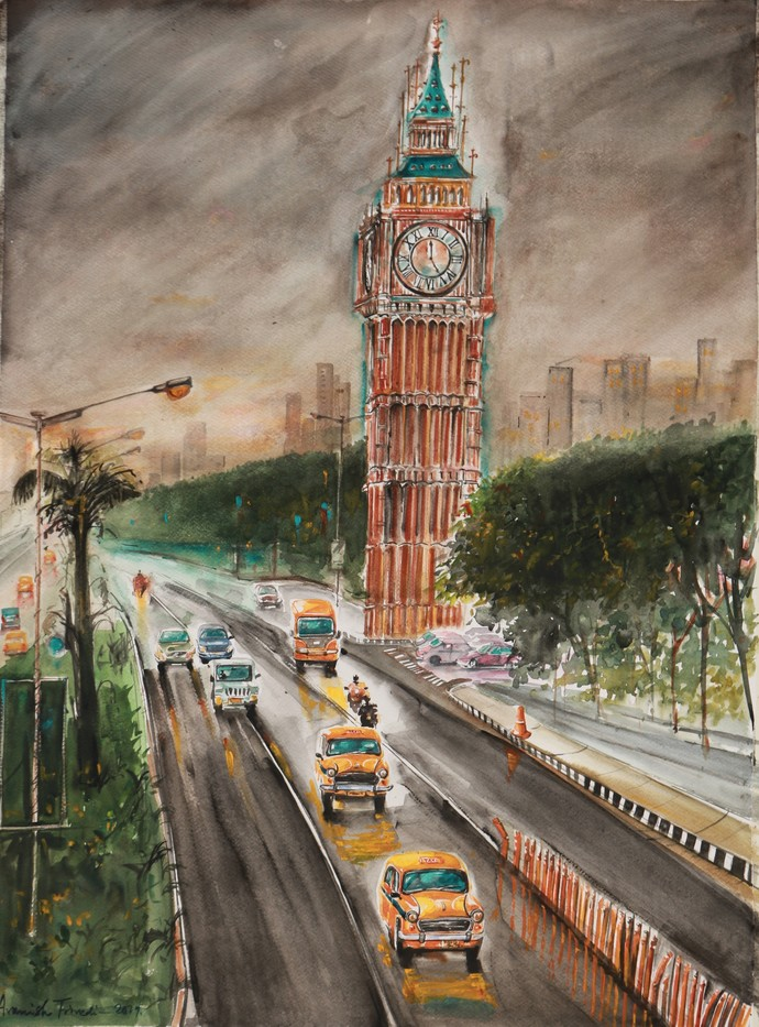 Calcutta Nostalgia..Lake Town Big Ben.. by Avanish Trivedi, Impressionism Painting, Watercolor on Paper, Brown color