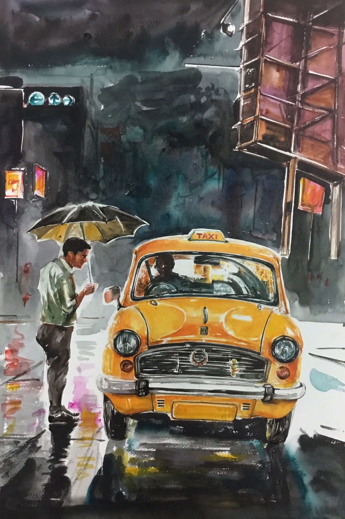 Calcutta Taxi..City Of Joy by Avanish Trivedi, Impressionism Painting, Watercolor on Paper, Gray color