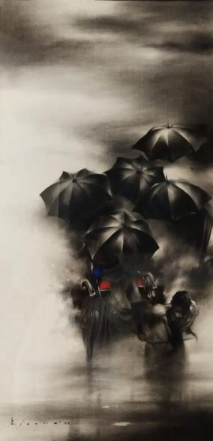 Rainy day by Ajay De, Expressionism Painting, Charcoal on Paper, Brown color