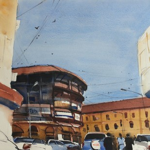 Colours of the years past by Prashant Prabhu, Impressionism Painting, Watercolor on Paper, Cyan color