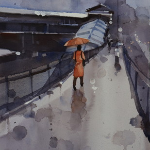 Her grace in Monsoon by Prashant Prabhu, Impressionism Painting, Watercolor on Paper, Gray color