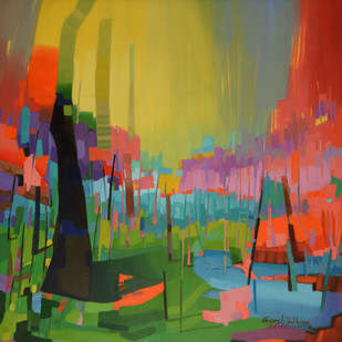 Untitled by Ganesh Doddamani, Abstract Painting, Acrylic on Canvas, Green color