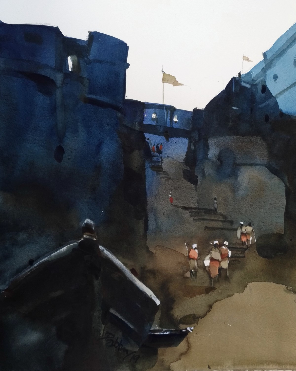 GoT to landing now by Prashant Prabhu, Impressionism Painting, Watercolor on Paper, Gray color