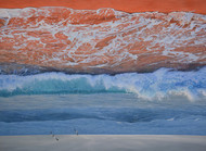 Waves by Kazi Nasir, Impressionism Painting, Acrylic on Canvas, Brown color