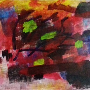 Untitled by Niroop Thomas, Abstract Painting, Acrylic on Paper, Brown color