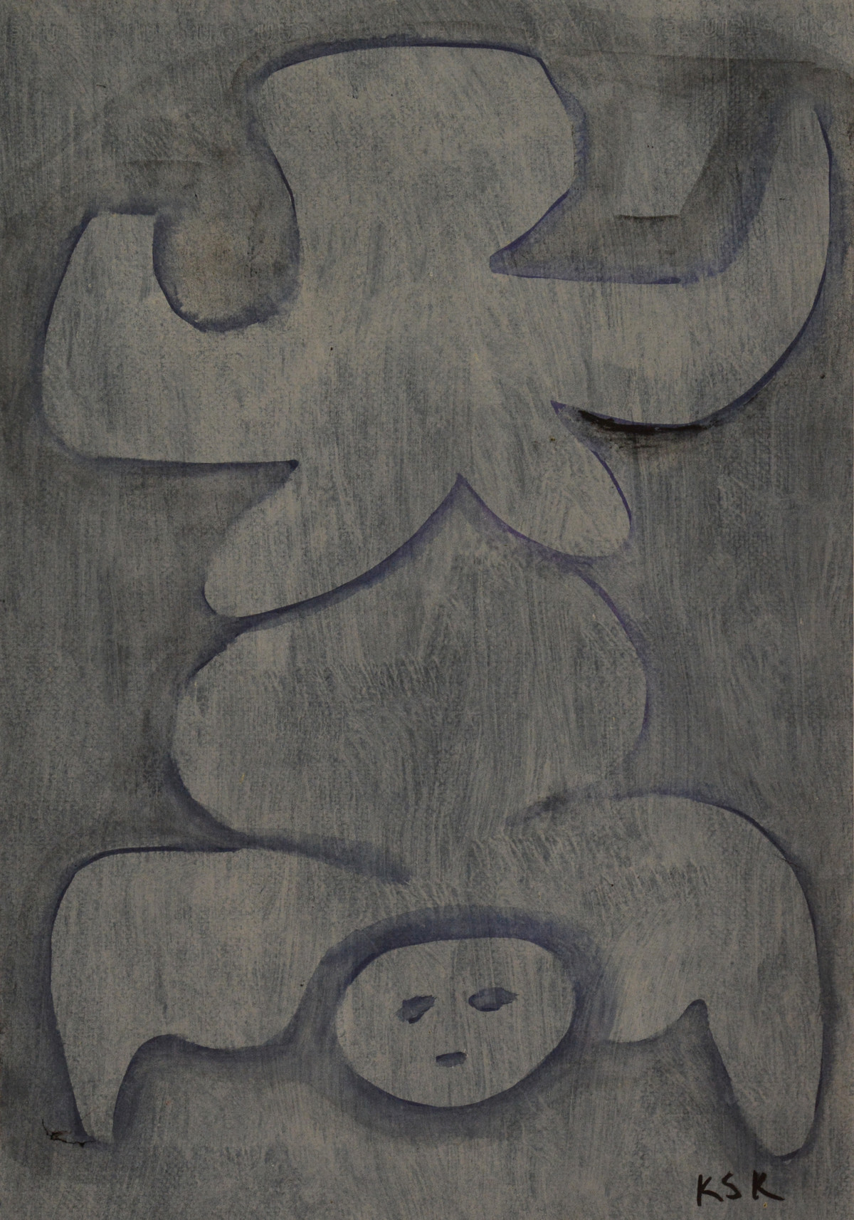 untitled by K S Kulkarni, Illustration Painting, Mixed Media on Paper, Gray color