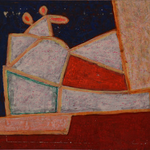 untitled by K S Kulkarni, Geometrical Painting, Mixed Media on Paper, Brown color