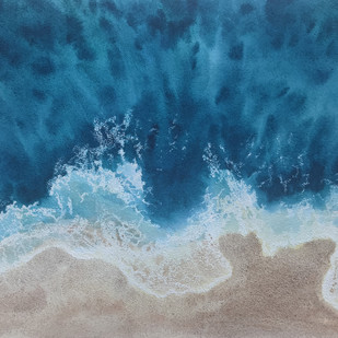 Seas the Day by Nisha Sehjpal, Impressionism Painting, Watercolor on Paper, Blue color