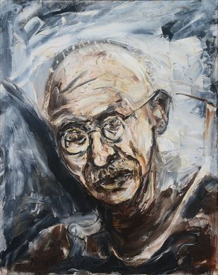 Untitled by Manu Parekh, Expressionism Painting, Oil on Canvas, Gray color
