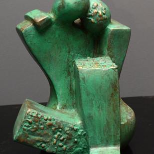 Untitled by Sheela Chamariya, Art Deco Sculpture | 3D, Bronze, Green color