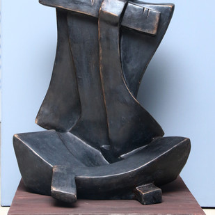 Untitled by Sheela Chamariya, Art Deco Sculpture | 3D, Bronze, Cyan color