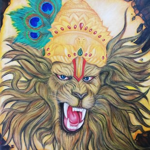 Lord Narsimha by Pratibha Jadhav, Expressionism Painting, Acrylic on Canvas, Makara color