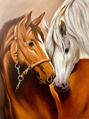 Horses portrait by Augustine Devotta, Realism Painting, Oil on Canvas Board, Brown color