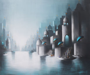 Holy Banaras Ghat by Somnath Bothe, Expressionism Painting, Charcoal on Canvas, Gray color