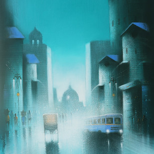 Monsoon Ride by Somnath Bothe, Impressionism Painting, Acrylic on Canvas, Cyan color