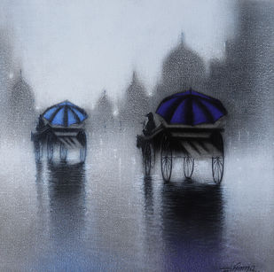 Rhythmic Monsoon Ride by Somnath Bothe, Impressionism Painting, Charcoal on Canvas, Green color