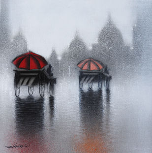 Rhythmic Monsoon Ride by Somnath Bothe, Impressionism Painting, Charcoal on Canvas, Pink color