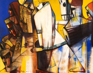 Melodius Journey by Paresh Maity, Expressionism Painting, Oil & Acrylic on Canvas, Brown color