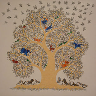 untitled by Dhawat Singh Uikey, Folk Painting, Mixed Media on Canvas, Brown color