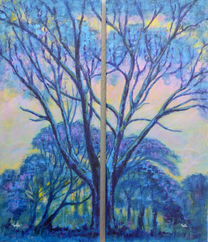 Diptych Landscape by Usha Shantharam, Impressionism Painting, Acrylic on Canvas, Blue color