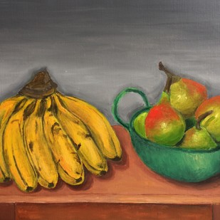 Still Life with bananas and pears by Vikram Malik, Impressionism Painting, Acrylic on Canvas, Brown color