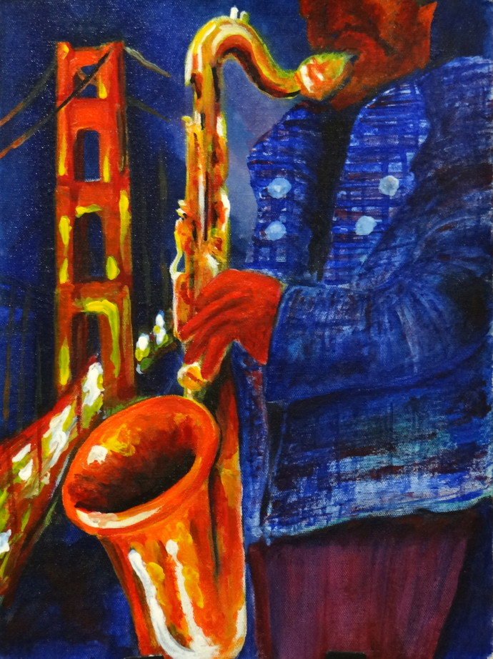 Lonely in San Fransisco by Anup Menon, Impressionism Painting, Acrylic on Canvas, Blue color