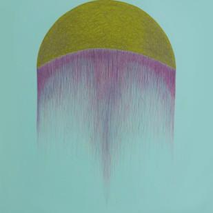 connection by Deepak sahagal, Minimalism Painting, Acrylic on Canvas, Cyan color