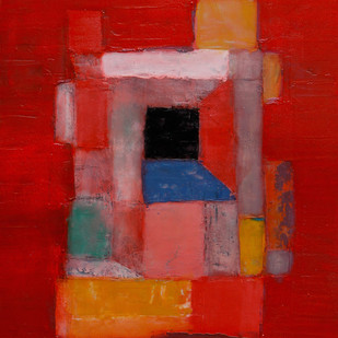 Red by Baljeet Singh, Geometrical Painting, Oil on Paper,