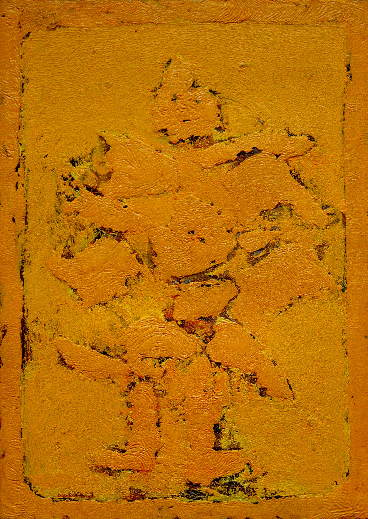 Laxmi by Baljeet Singh, Abstract Painting, Oil on Paper, Orange color