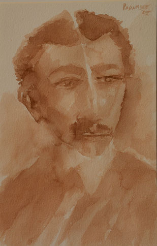 Potrait of Gandhi young Lawer by Akbar Padamsee, Expressionism Painting, Watercolor on Paper, Brown color