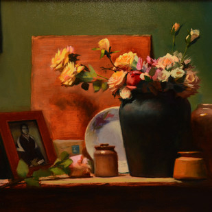 Graduation Roses by Amit Shrivastava, Realism Painting, Oil on Linen, Brown color