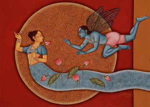 Untitled by CHHOTU LAL, Fantasy Painting, Tempera on Board, Brown color