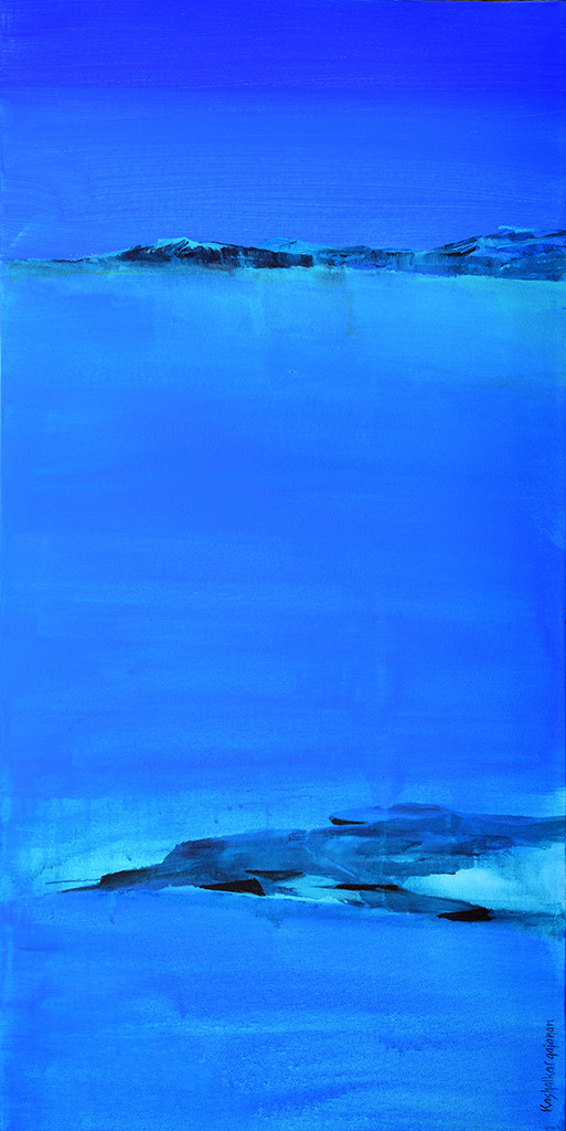 Rocks by Gajanan Kashalkar, Abstract Painting, Acrylic on Canvas, Blue color