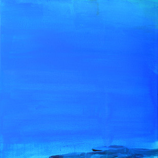 Rocks by Gajanan Kashalkar, Abstract Painting, Acrylic on Canvas, Blue color