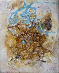 Leviathan - 1 by Viraag Desai, Abstract Painting, Mixed Media on Canvas, Gray color