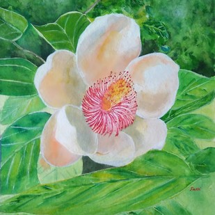 My Garden flower by Rakhi Bose, Impressionism Painting, Watercolor on Paper, Green color