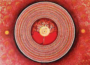 MANDALA SERIES 1 - MULADHARA - FOUNDATION OF LIFE by NITU CHHAJER, Traditional Painting, Acrylic on Canvas, Brown color