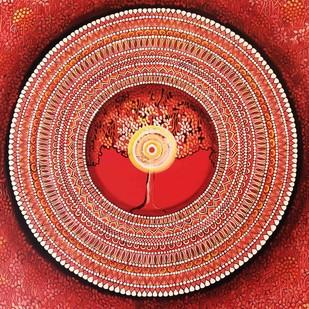 MANDALA SERIES 1 - MULADHARA - FOUNDATION OF LIFE by NITU CHHAJER, Traditional Painting, Acrylic on Canvas, Brown color