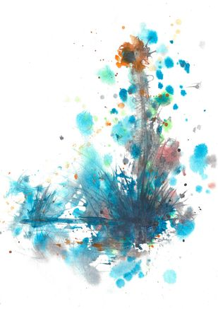 Standing tall by dilraj kaur, Abstract Painting, Watercolor and charcoal on paper, White color