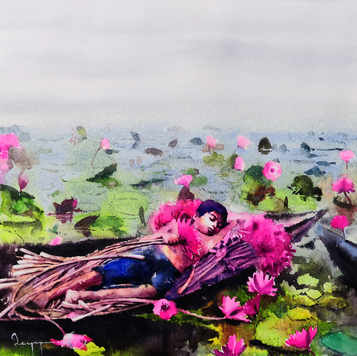 Dreaming@LotusPond by Jeyaprakash M, Expressionism Painting, Watercolor on Paper,