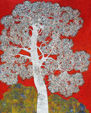 tree of life by Bhaskara Rao Botcha, Expressionism Painting, Acrylic & Ink on Canvas, Blue color