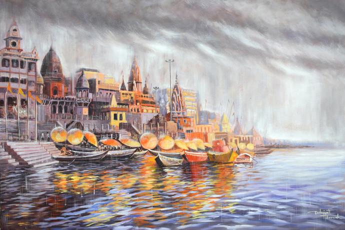 Divine Varanasi by Debojyoti Boruah, Impressionism Painting, Acrylic on Canvas,
