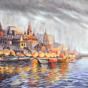 Divine Varanasi by Debojyoti Boruah, Impressionism Painting, Acrylic on Canvas,