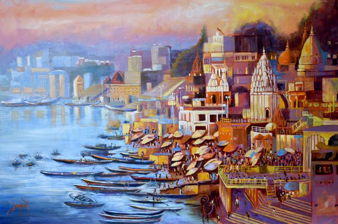 Varanasi Ghat by Debojyoti Boruah, Impressionism Painting, Acrylic on Canvas,