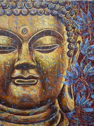 Buddha by Debojyoti Boruah, Expressionism Painting, Acrylic on Canvas,