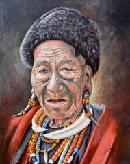 Konyak of Nagaland by Debojyoti Boruah, Expressionism Painting, Acrylic on Canvas,