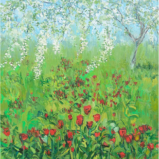 Tulips & Apple Blossoms-2 by Animesh Roy, Expressionism Painting, Oil on Linen, Green color