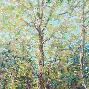 The Forest by Animesh Roy, Expressionism Painting, Oil on Linen, Beige color
