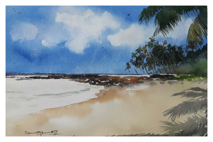 ocean's charm by Tushar Shetty, Impressionism Painting, Watercolor & Ink on Paper, Gray color